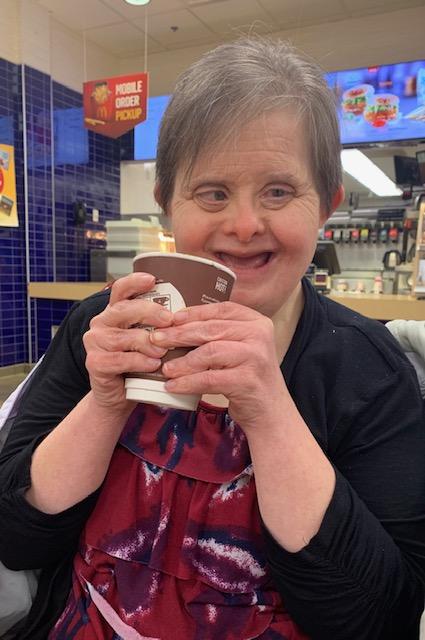 Theresa having coffee March 2019